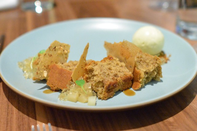 Black Walnut Cake poached pear, cahoots saison, humboldt fog ice cream