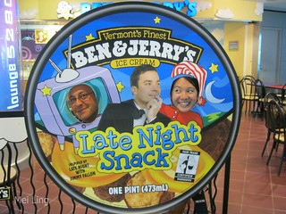 Ben and Jerry's cut out with Jimmy Fallon