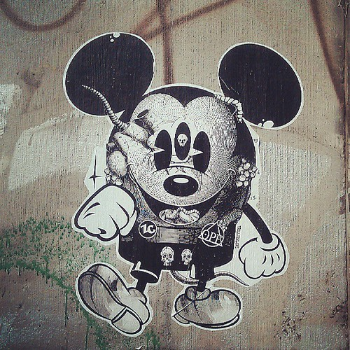 ready for the week #wall #brussels #streetart #poster #sticker #mickeymouse