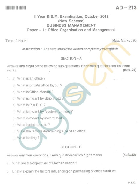 Bangalore University Question Paper Oct 2012 II Year BBM - Business Management office Organisation and Management