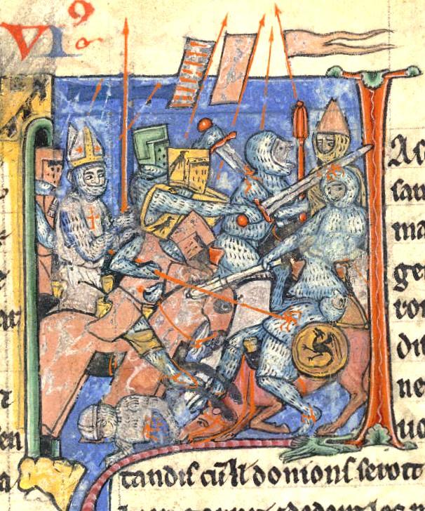 2. Miniatura medieval representando una batalla en plena Cruzada. de la Histoire d'Outremer, por William de Tiro