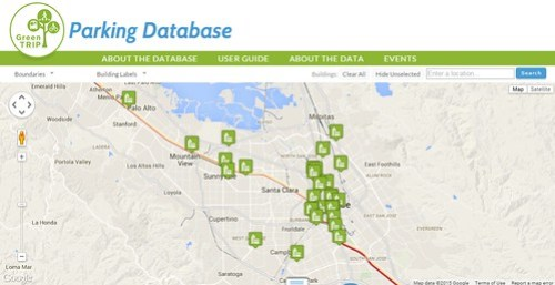GreenTRIPS parking database screenshot