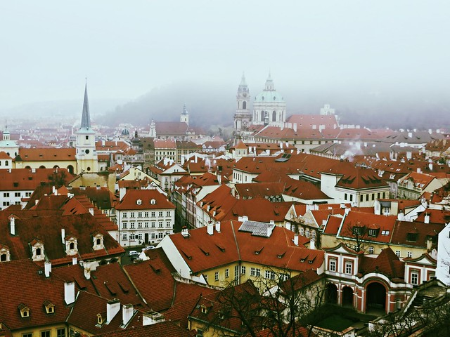 Prague in winter, Czech rooftops