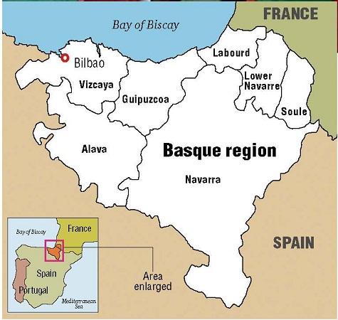 Mapa regiao Pais Basco
