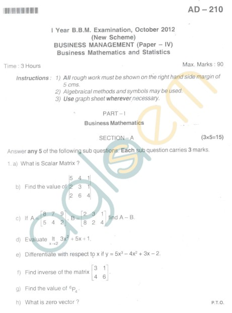 Bangalore University Question Paper Oct 2012I Year BBM - Business Management Paper IV