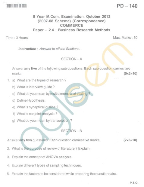 Bangalore University Question Paper Oct 2012 II Year M.Com. - Commerce paper - 2.4 Business Reaserch Methods