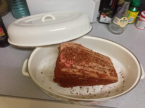 pork in a baking dish