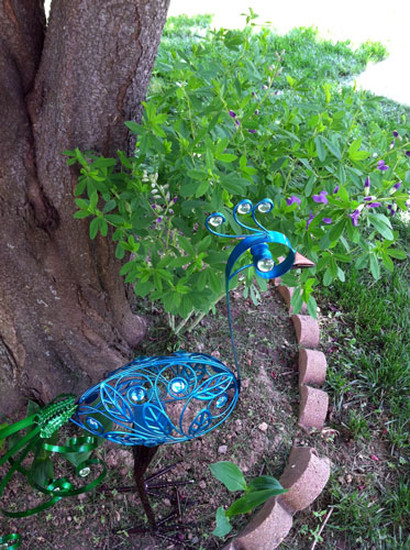 metal peacock yard ornament in my front yard.