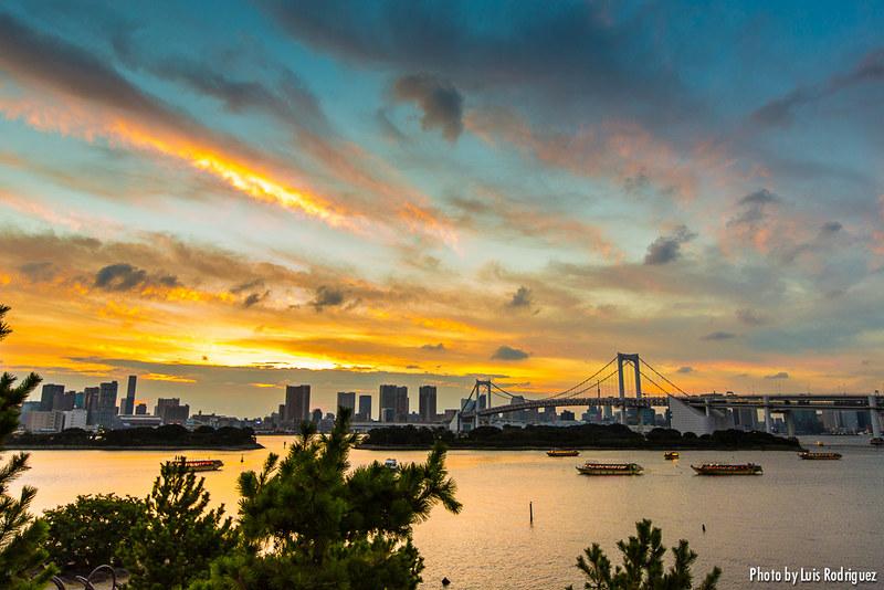 Atardeceres en el verano japonés desde Odaiba