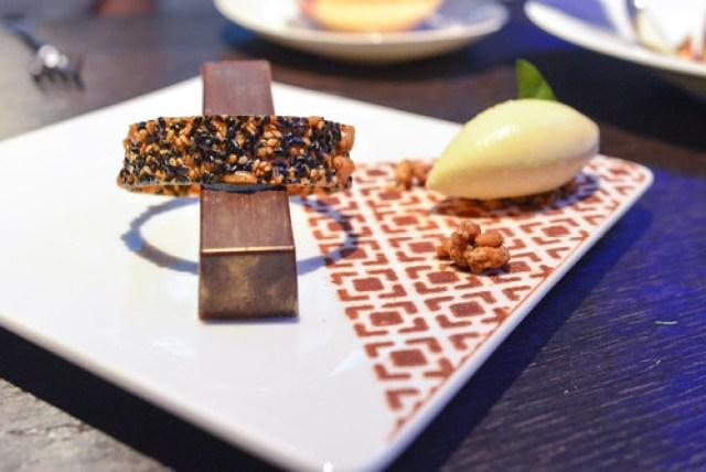 Chocolate and black sesame cremeux sesame Florentine, yuzu ice cream
