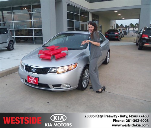 Westside Kia would like to say Congratulations to Brittany Barton on the 2013 Kia Forte from Gilbert Guzman by Westside KIA