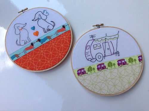 Sublime stitching-Jessica Jones ribbon embroideries Camper and dachshunds
