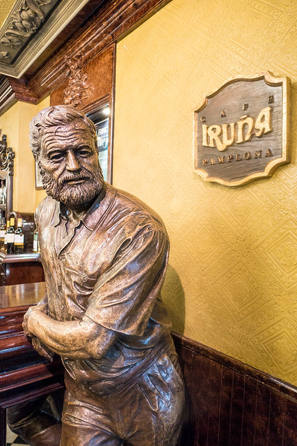 The Hemingway statue at Café Iruña in Pamplona, Spain.