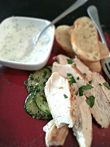 Sauteed chicken breast w/herb yogurt dipping sauce by pipsyq