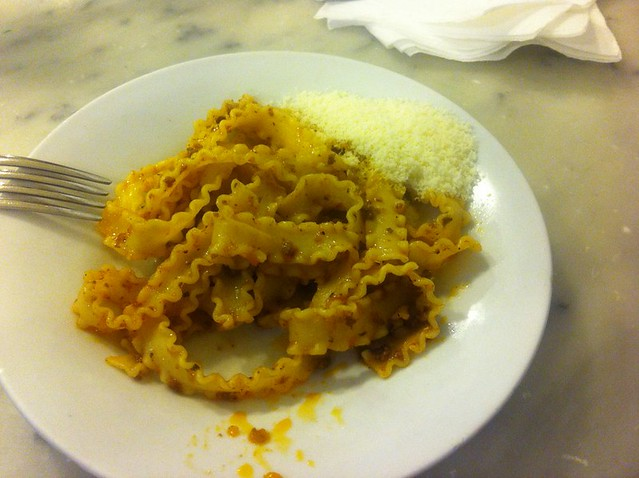 Fresh pasta with ragu at Florence's central market