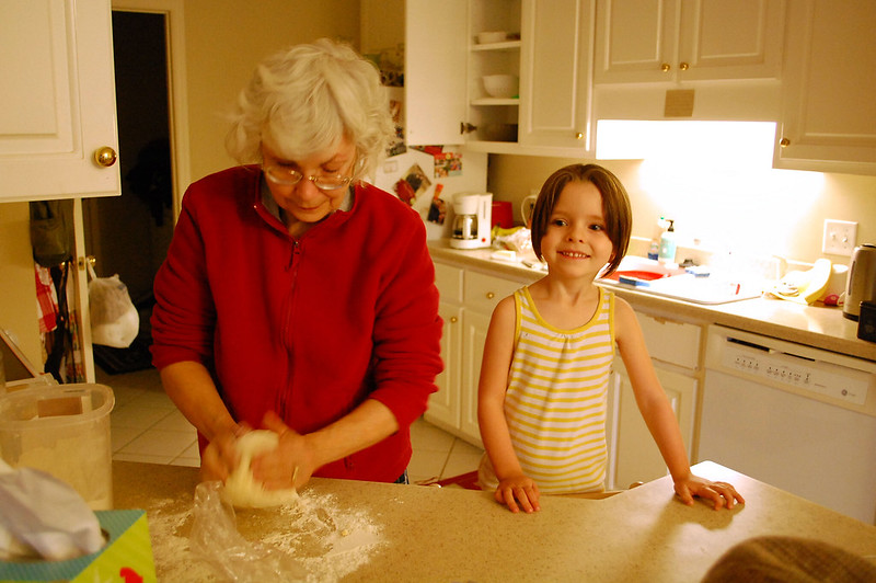 Making cinnamon rolls with grandma.