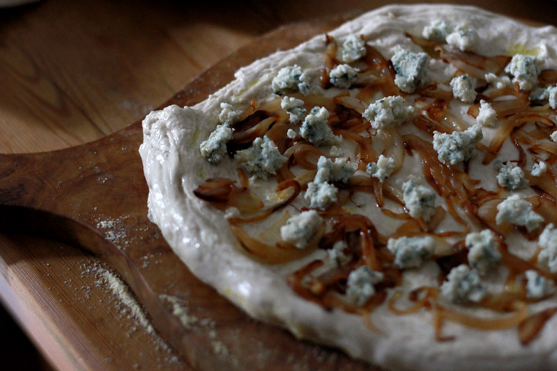caramelized onions and blue cheese