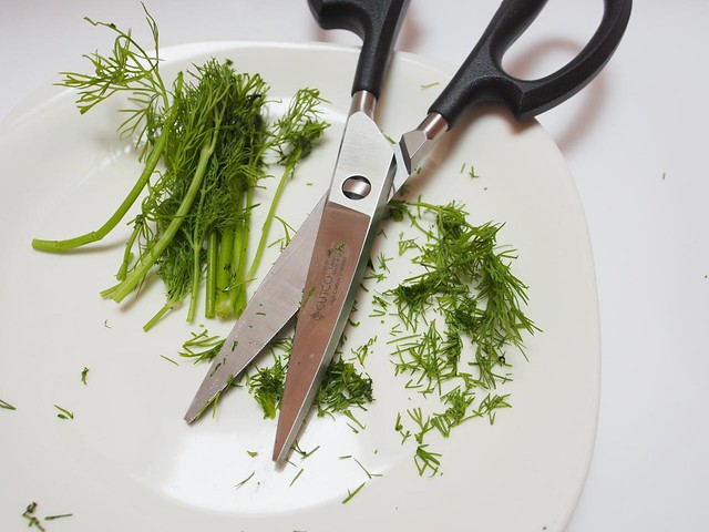 "Finely ""chopping"" dill"
