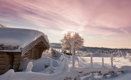Log Cabin in Sjusjoen at Sunrise