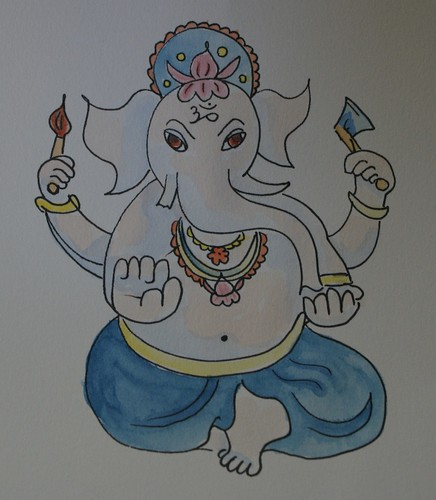 Watercolour drawing of Ganesha
