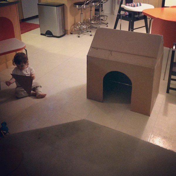 Saturday night project, cardboard box into baby's first fort.