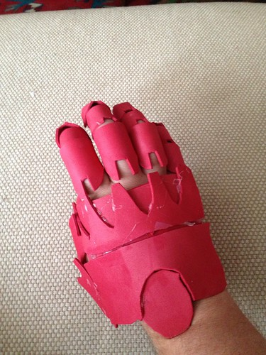 Armor-Glove prototype: Trying the glove on