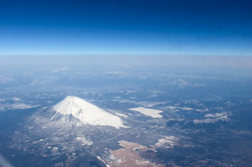 上空から見た富士山