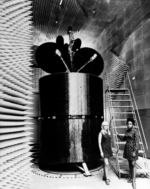 Intelsat IV in an anechoic chamber