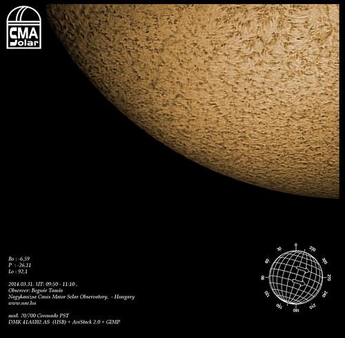 H-alpha Sun – 2014.03.31. – Bognár Tamás – Nagykanizsa Canis Maior Solar Observatory