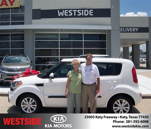 Westside Kia would like to say Congratulations to Lynda Reeves on the 2013 Kia Soul from Elhallal Rizkallah by Westside KIA