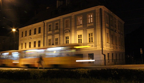 Night Tram - Wroclaw Poland by Christopher OKeefe