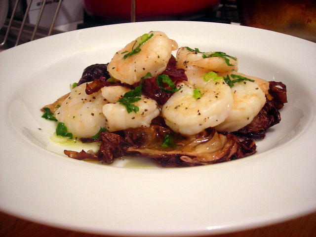 Roasted shrimp and radicchio salad, Meyer lemon-scallion vinaigrette