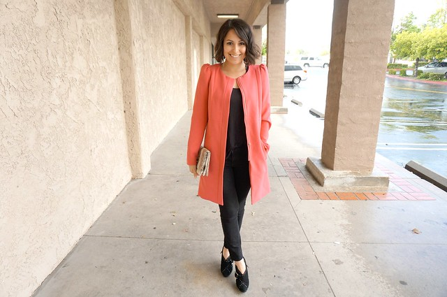 pink collarless coat outfit 2