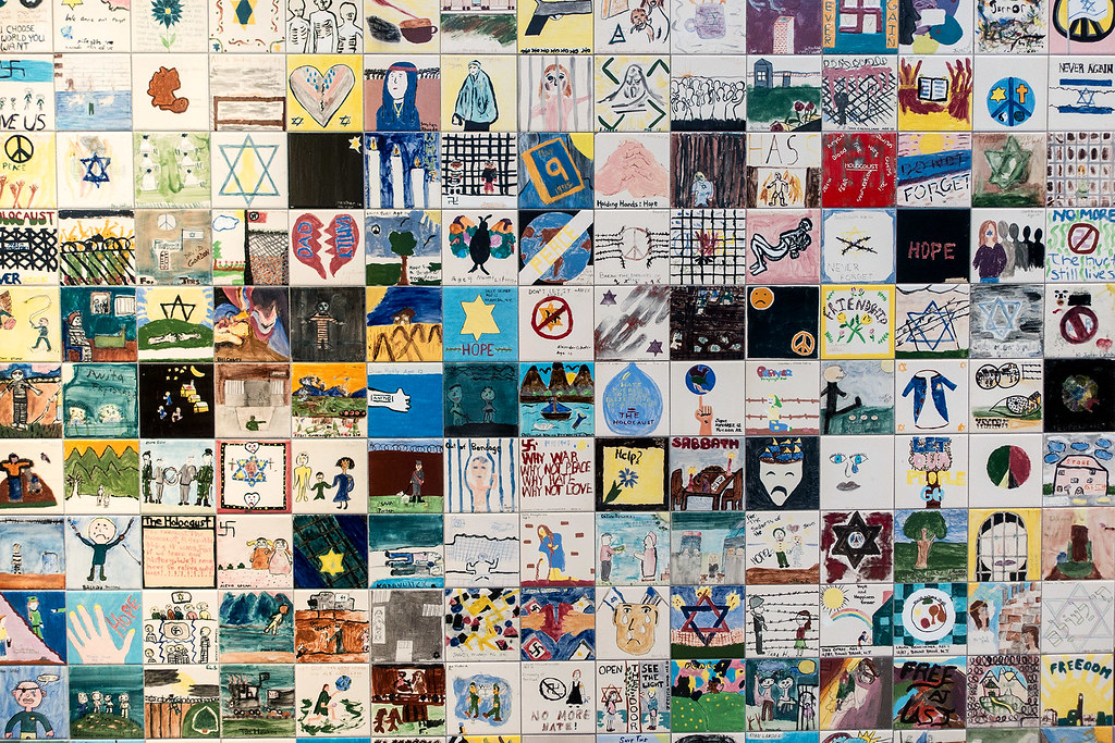 Section of tiles from the Children's Tile Wall