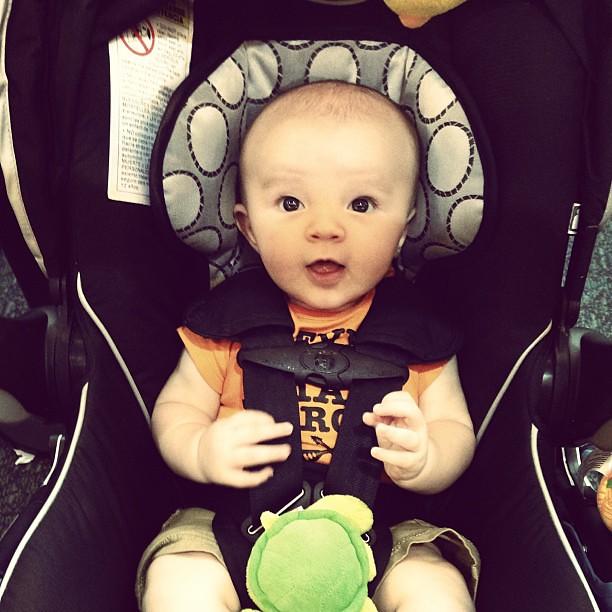 Baby's first TSA line. We made it thru. Woo-hoo!