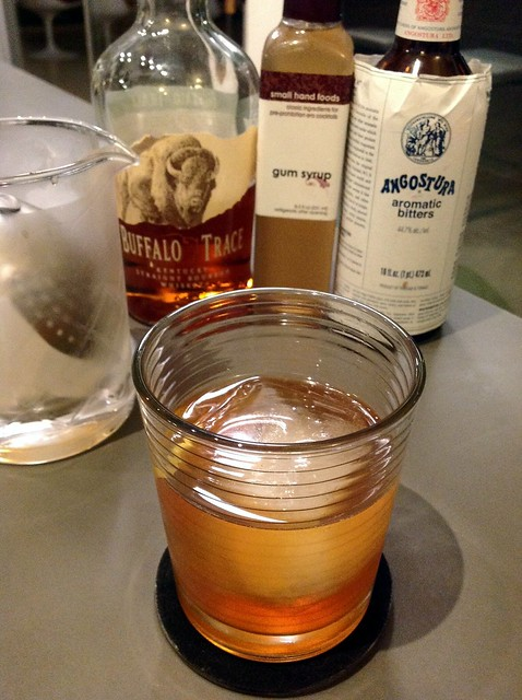 Whiskey Old-Fashioned with Buffalo Trace bourbon, gum syrup, Angostura bitters, lemon peel