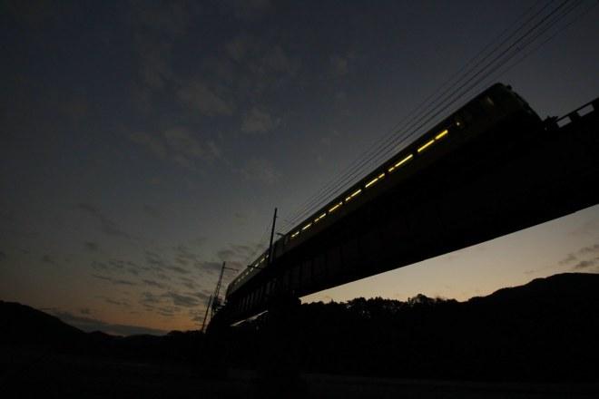 大井川は日に暮れて