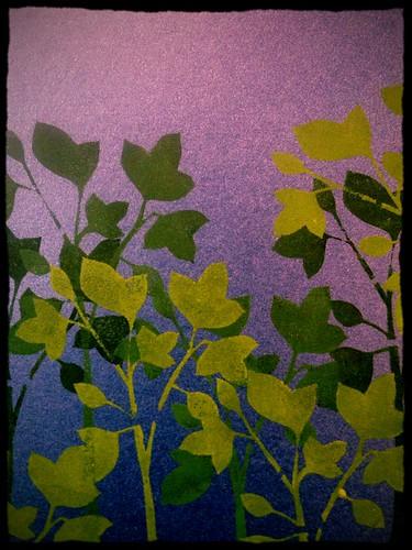 Sasparilla stenciling on metallic blue paper.