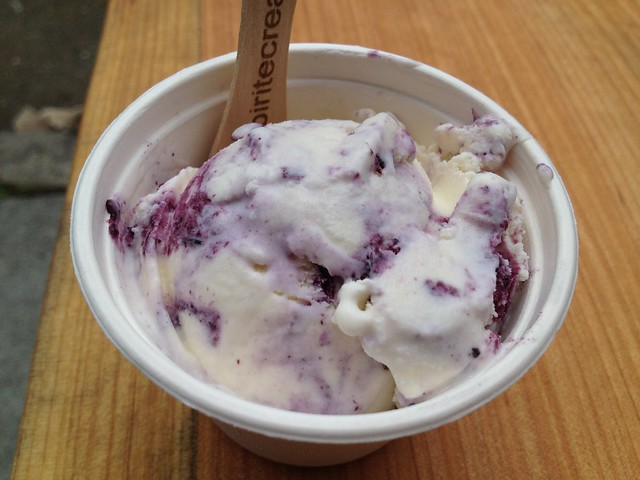Cheesecake with blueberry swirl ice cream - Bi-Rite Creamery