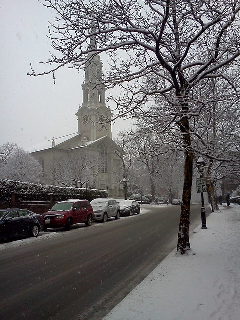First Unitarian Church on Benevolent Street, Providence in the snow