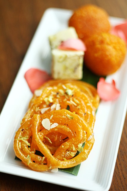 Desserts - Jalebi, Moti choor and Kalakhand
