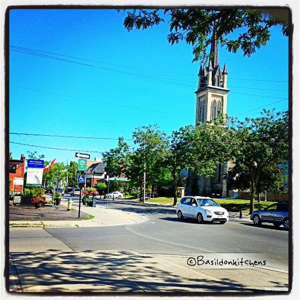 July 15 - outside the window {working in a branch office today so it's not my usual view; however it is a very pretty one} #TitleFx #fmsphotoaday #view #cobourg #street #church