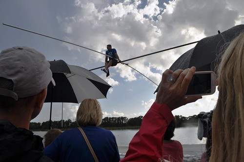 """A young boy shouted, """"Are you scared?"""" during today's Q&A. Wallenda replied,""""Very."""" Sarasota, Fla., June 19, 2013"""