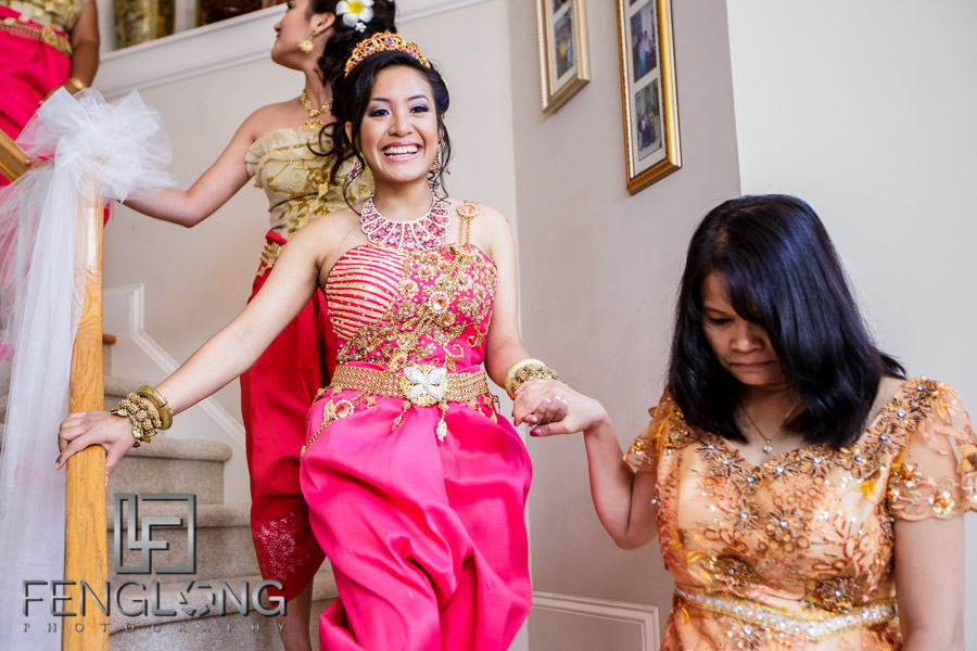 Preparing for the second Cambodian wedding ceremony