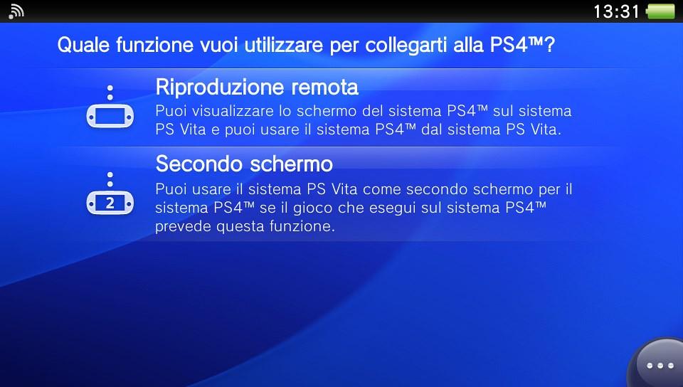 Collegamento PS4 su PS Vita