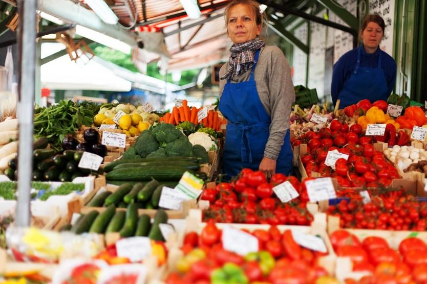 Produce vendor, Viktualienmarkt, Munich.