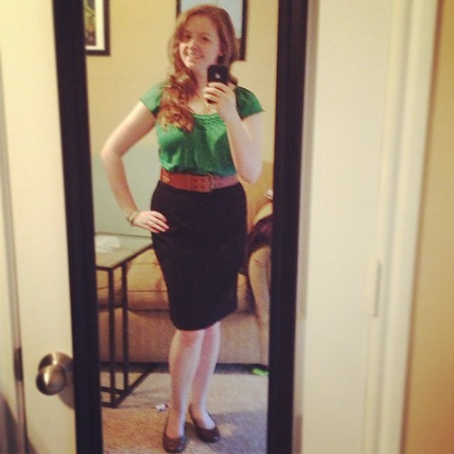 I hate that the picture is so blurry because I love this #ootd! Top: Ann Taylor Loft outlet; belt: Target; shoes: Payless