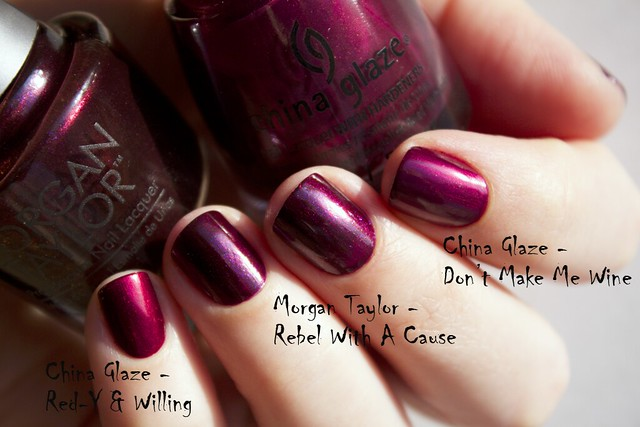 11 Morgan Taylor Rebel With A Cause comparison vs China Glaze