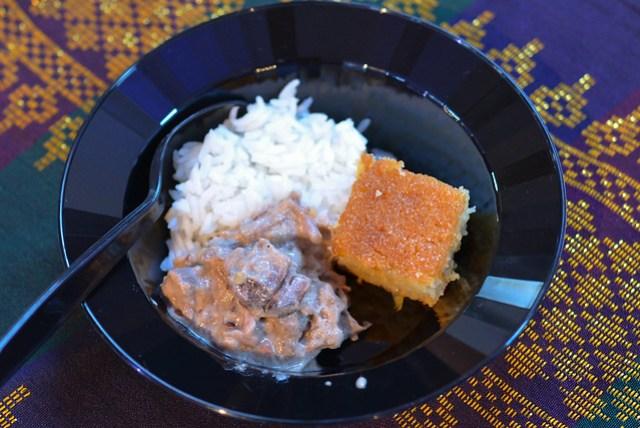 The Park's Finest coconut beef, cornbread bibingka