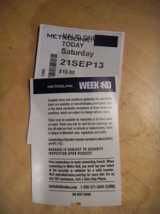 Metrolink Ticket without TAP RFID Chip